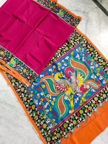 Multicolour Hand Painted Kalamkari Chennur Silk Saree_MHCS001