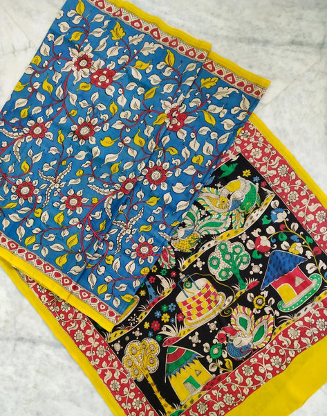 Multicolour Hand Painted Kalamkari Chennur Silk Saree_MHCS004