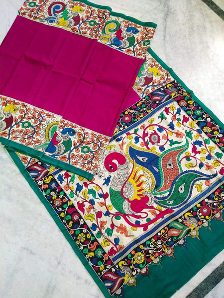 Multicolour Hand Painted Kalamkari Chennur Silk Saree_MHCS006