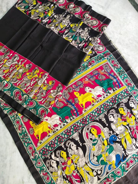 Multicolour Hand Painted Kalamkari Chennur Silk Saree_MHCS007
