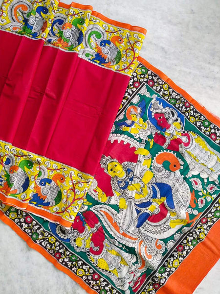 Multicolour Hand Painted Kalamkari  Malmal Cotton  Saree_MHKCS001