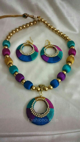 Multicolour Necklace with Hook Earrings