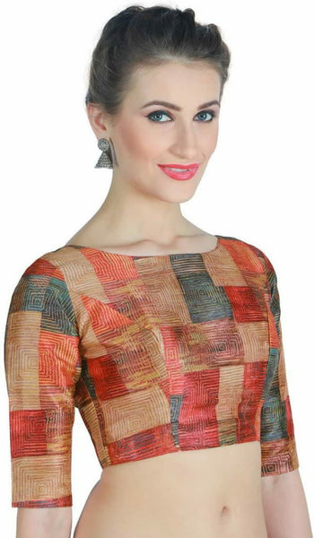 Multicoloured Abstract Checkered Digital Printed Readymade Blouse