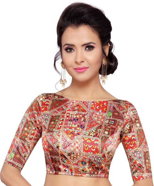 Multicoloured Abstract Digital Printed Readymade Blouse
