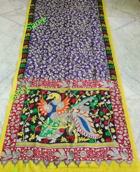 Multicoloured Flamboyant Peacock & Flowers Hand-Painted Mal-Mal Cotton Kalamkari Saree