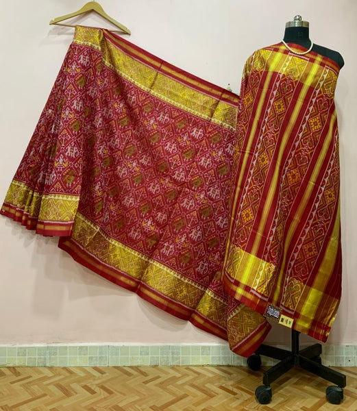 Red Elephant Motif and Golden Border Patola Silk Saree-PPSRE-005