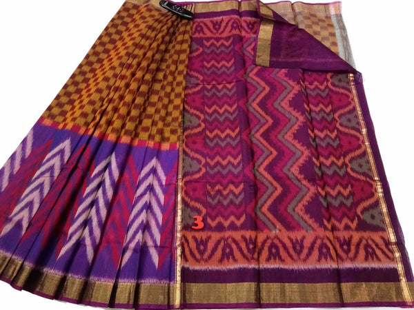Mustard Checked Ikkat Silk Cotton Saree-SRE-778