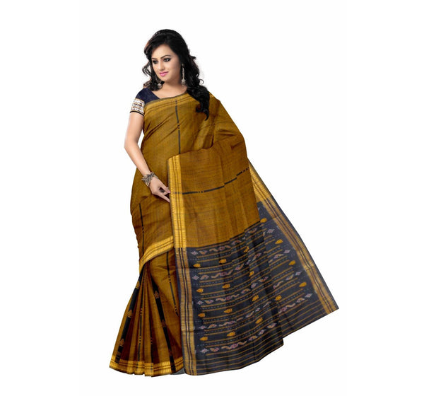 Mustard Handwoven Bomkai Cotton Saree-OSS6177