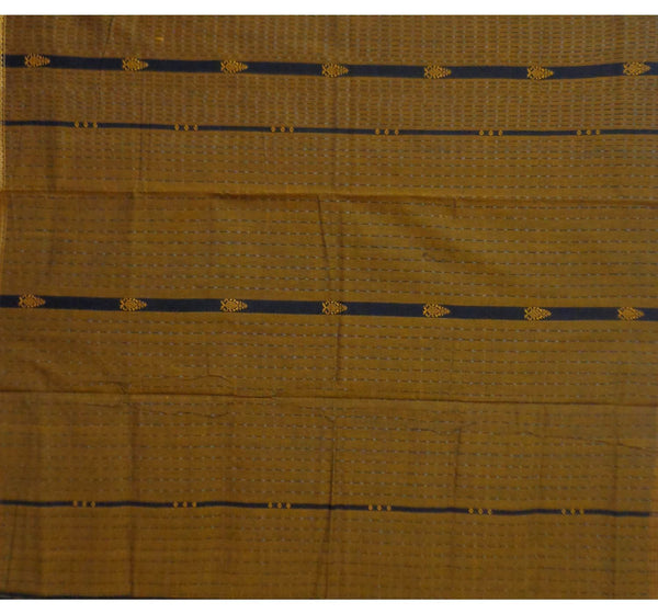 Mustard Handwoven Bomkai Cotton Saree