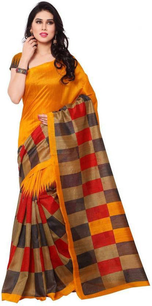 Mustard With Red and Gray Checked Bhagalpuri Saree-SRE-795