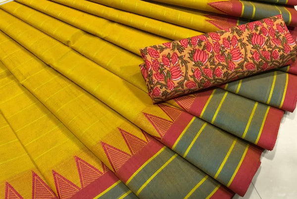 Mustard Pure Cotton Saree CPC 002