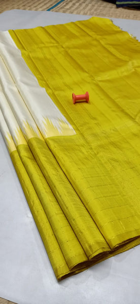 Mustard with White Pure Silk Saree