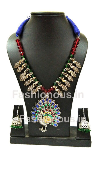 Muticolor Colour Crystal Peacock Pendant And Earrings-OXDJSW-022
