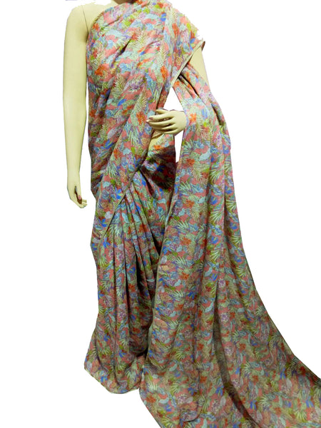 Muticolor Floral Printed Linen Saree-LNS001 Light brown coloured printed saree