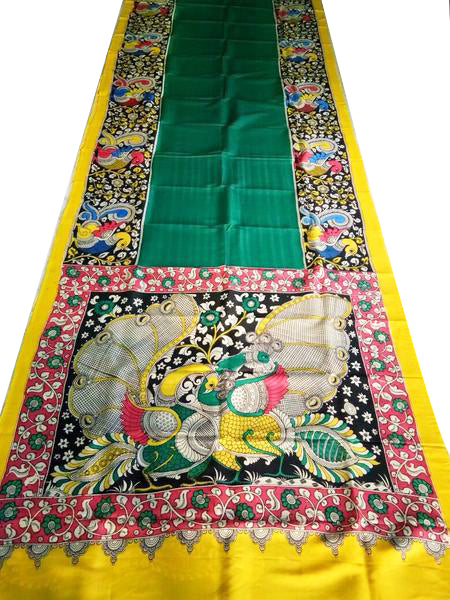 Multicoloured Simple Peacock Hand-Painted  Chennur SilkKalamkari Saree