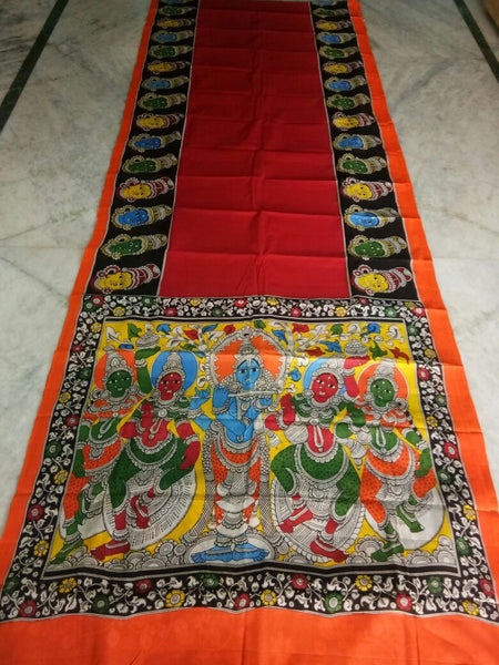 Muticolor Kalamkari Printed Mal Cotton Saree-KPMCS-002