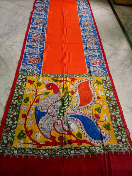 Muticolor Kalamkari Printed Mal Cotton Saree-KPMCS-014