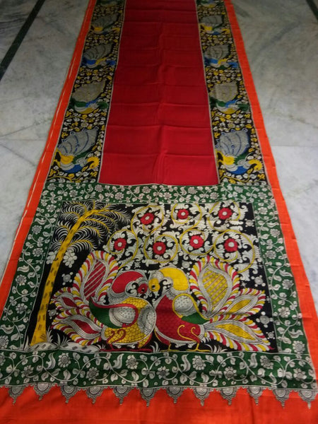 Muticolor Kalamkari Printed Mal Cotton Saree-KPMCS-019