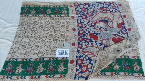 Muticolor Printed Silk Kalamkari Saree-KALAMKARI-0080