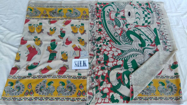 Muticolor Printed Silk Kalamkari Saree-KALAMKARI-0086