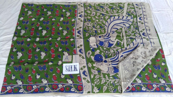 Muticolor Printed Silk Kalamkari Saree-KALAMKARI-0099