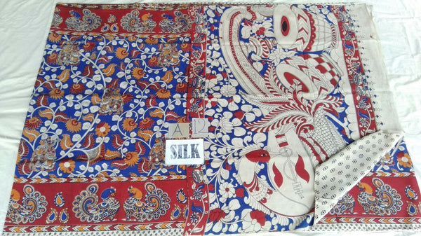 Muticolor Printed Silk Kalamkari Saree-KALAMKARI-0100