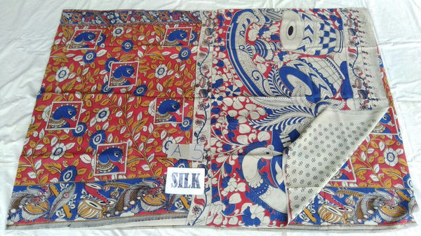 Muticolor Printed Silk Kalamkari Saree-KALAMKARI-0101