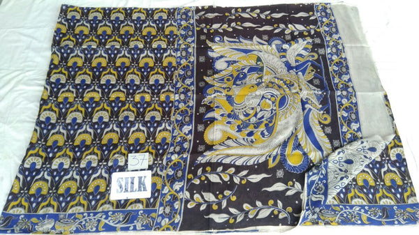 Muticolor Printed Silk Kalamkari Saree-KALAMKARI-0106