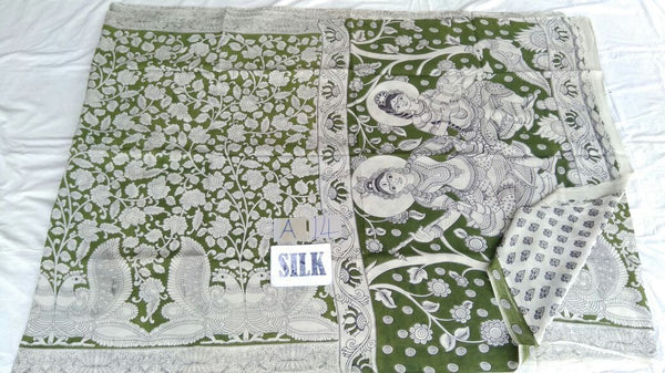 Muticolor Printed Silk Kalamkari Saree-KALAMKARI-0114