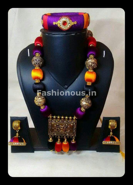Muticolor Silk Balls with Ganesh Antique Pendant Silk Thread Jewellery Set-STJS-045