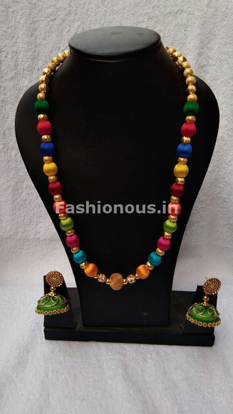 Muticolored  Silk Thread Jewellery Set-STJS-011
