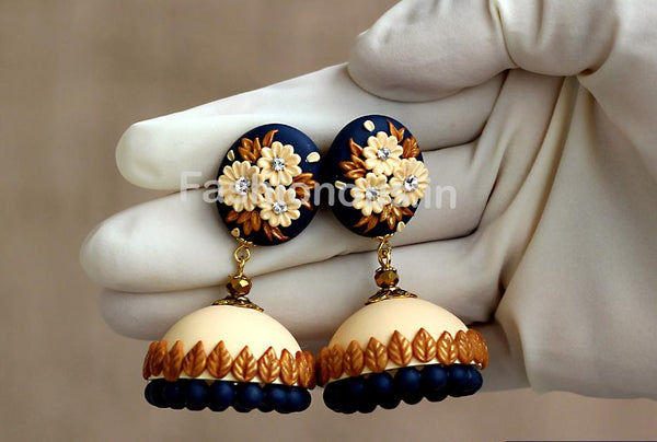 Navy Blue-Cream with Golden Floral Jhumka-ZAPCJH-010