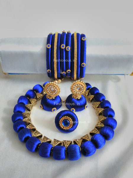 Navy Blue Silk Thread Jewellery Set