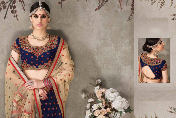 Navy Blue and Cream Color Embroidered Bridal Lehenga
