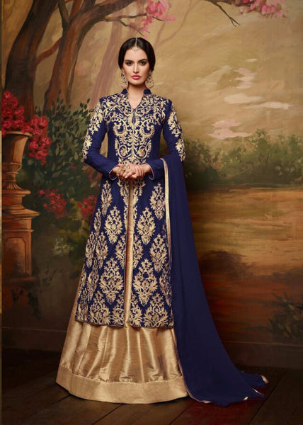 Navy Blue and Golden Embroidered Bridal Lehenga