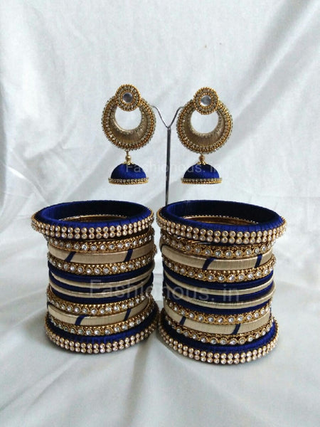 Navy Blue and Golden Silk Thread Bangles and Earrings