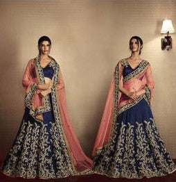 Navy Blue and Light Pink Embroidered Bridal Lehenga