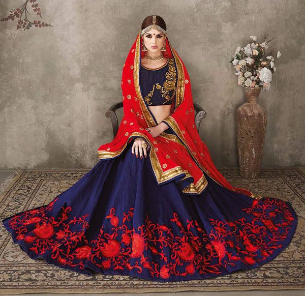 Navy Blue and Light Red with Embroidered Bridal Lehenga