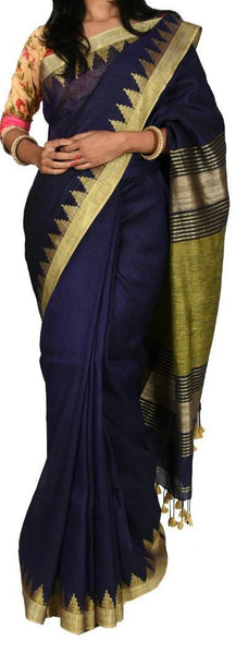 Navy Blue with Golden Gopuram Border Linen Saree-LNSRE-053