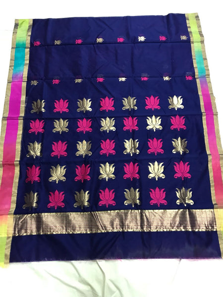 Navy Blue with Lotus Designed Muticolor Border Chanderi Silk Saree-CHANSRE-026
