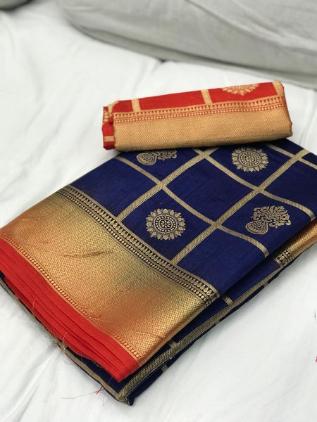 Navy Blue with Orange Border Banarasi Silk Saree-SRE-1096