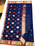 Blue with Red Zari Border Chanderi Silk Saree