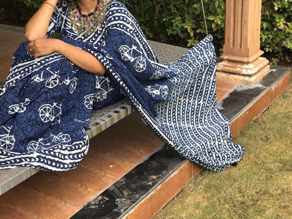 Navy Blue with White Cycle Pure Cotton Saree-SRE-309