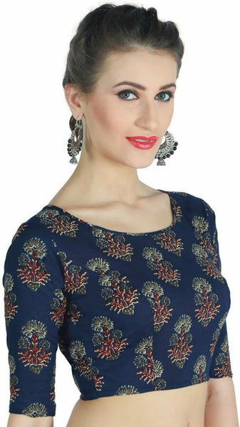 Navy Blue Floral Printed Readymade Blouse