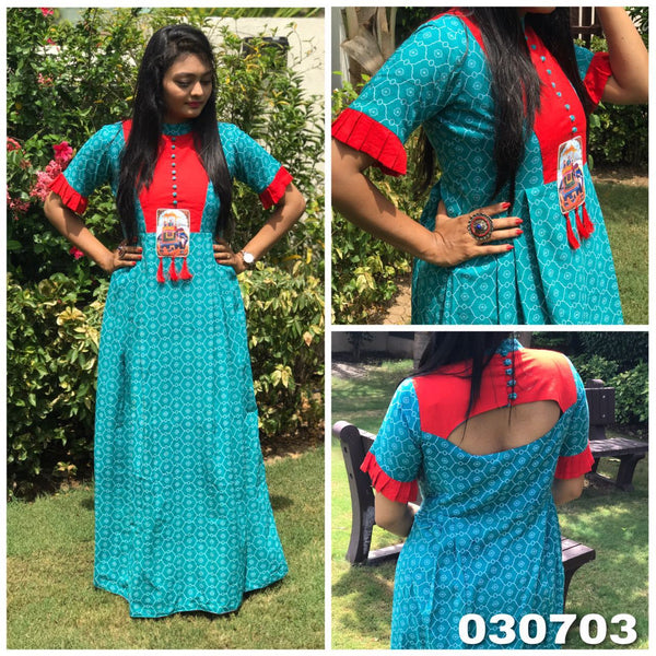Turquoise Blue and Red American Crepe Digital Printed Long Gown-WLG-003
