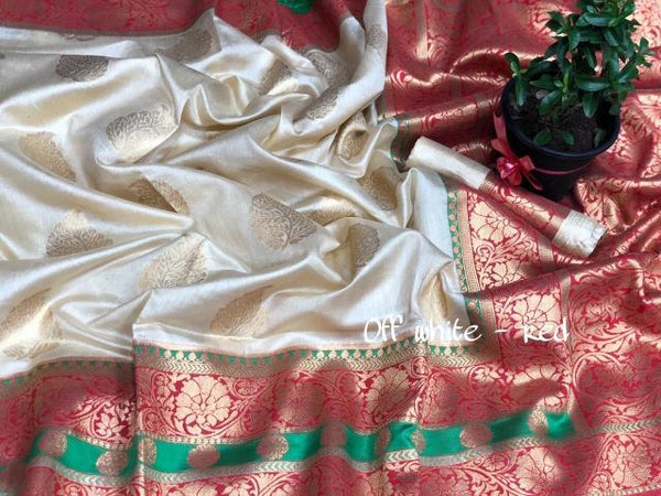 Off White and Red Katan Silk Saree-KSS008 white and red coloured simple silk saree