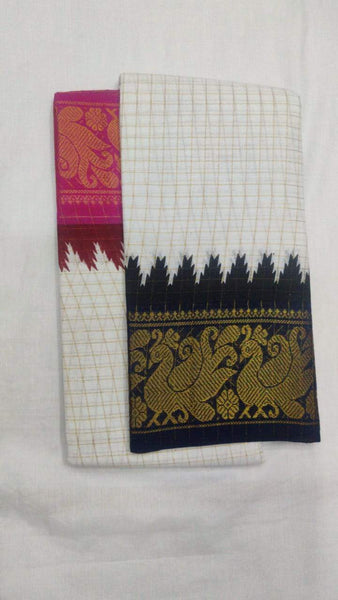 Off White with Black and Pink-Madurai Sungudi Sarees - Double side Jari Border