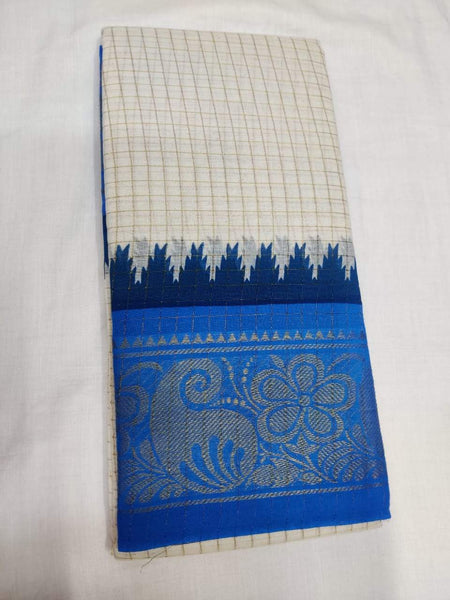 Off White with Sky Blue Border-Madurai Sungudi Sarees - Double side Jari Border