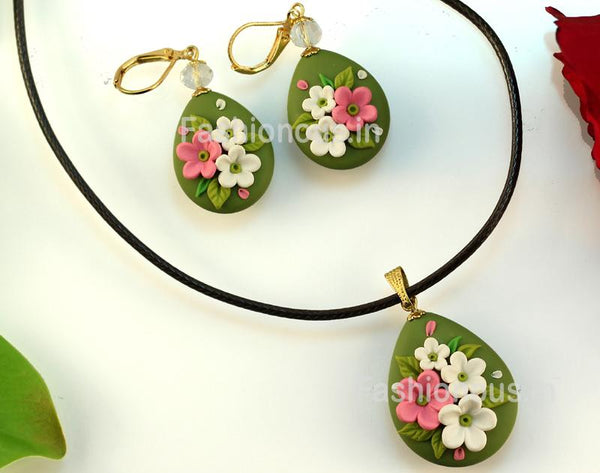 Olive Floral Necklace and  Earrings-ZAPCNS-037