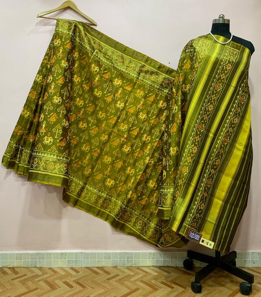 Olive Green with Bird and Elephant Motif Patola Silk Saree-PPSRE-026